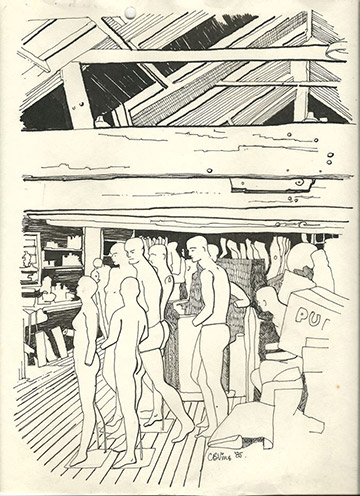 A sketch of the Purfex mannequin factory done in 1985 by inimitable and highly entertaining well known bon vivant, conservation architect and artist Christopher Vine. He has lived in Nelson since 1964 and is a potter, a former newspaper columnist, and writer and illustrator of the book Nelson Observed. width=