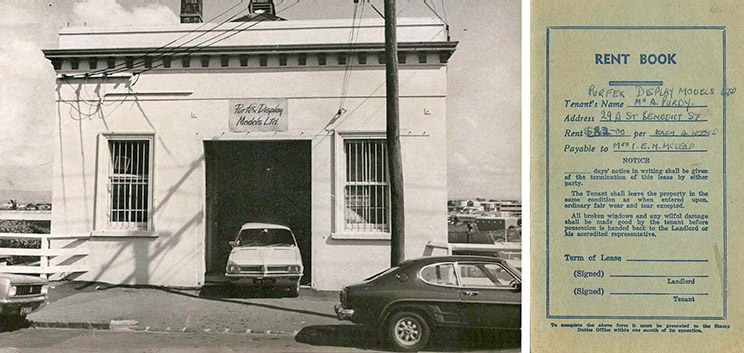 Purfex many decades ago at the rented premises on 29 St Benedicts Street, Auckland. In 1970, according to the rent book, rent was only $32 per month!